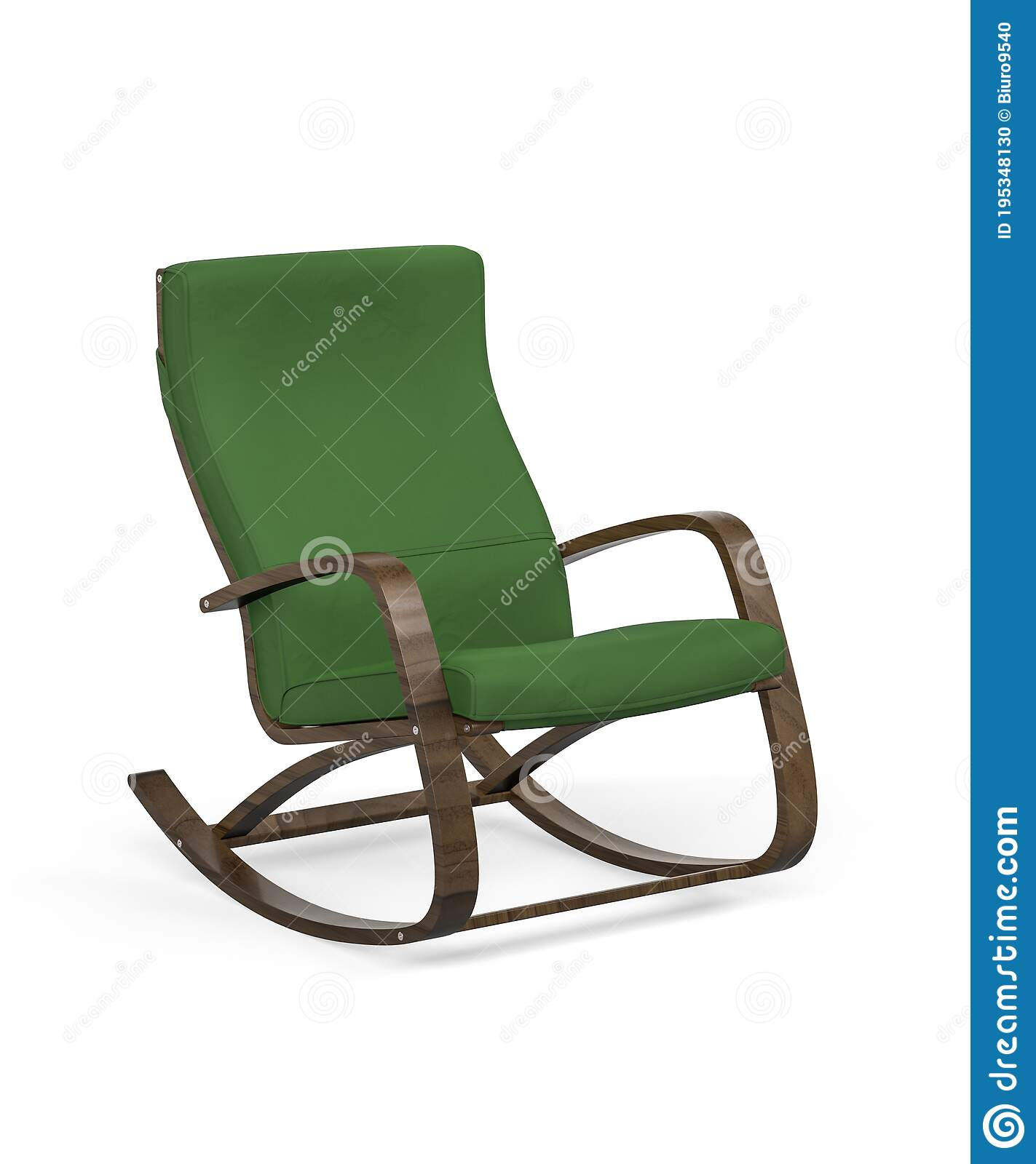 Modern Green Rocking Chair Isolated On White Background Stock Illustration Illustration Of Armchair Dark 195348130
