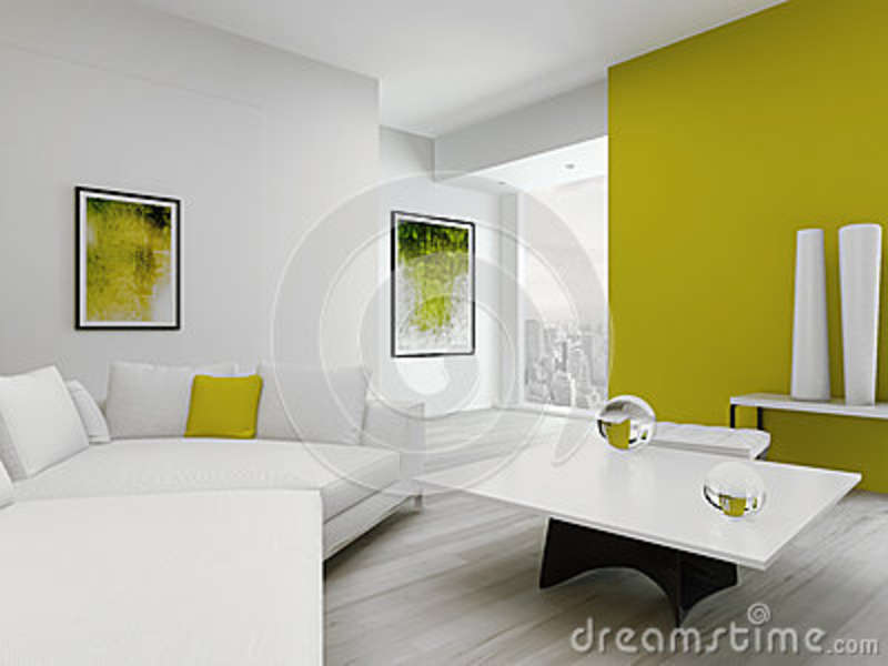 Modern green and white colored living room interior stock illustration imag - Couleur du salon sejour ...