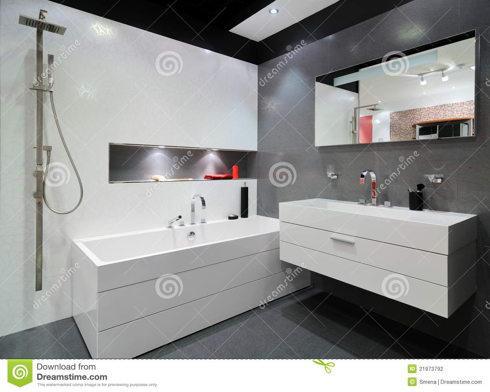 Modern grey bathroom stock photo image of lavatory house for Salle de bain moderne algerie