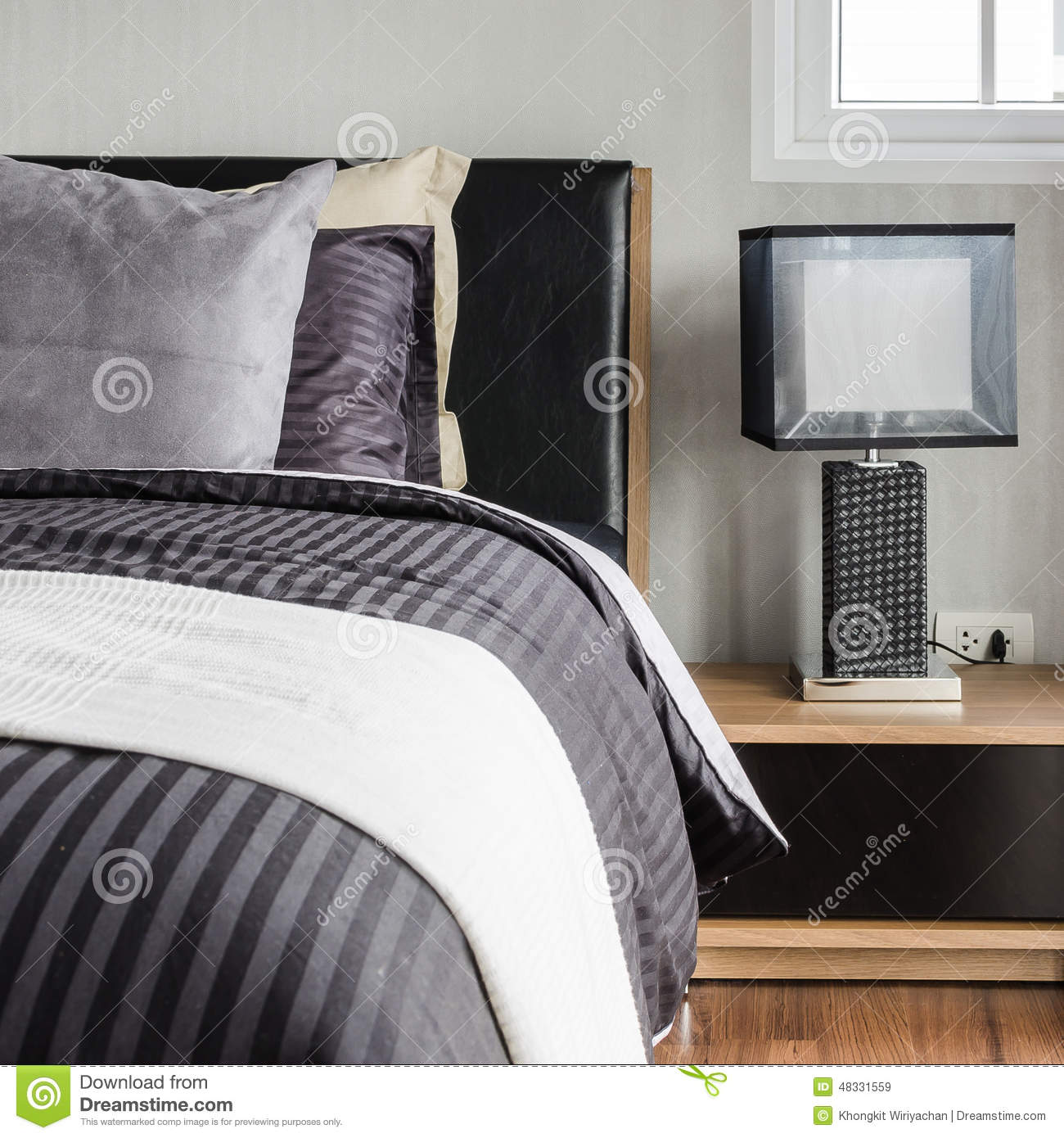 Modern Bedroom Pillows : Modern Grey Bedroom With Pillows On Bed Stock Photo - Image: 48331559