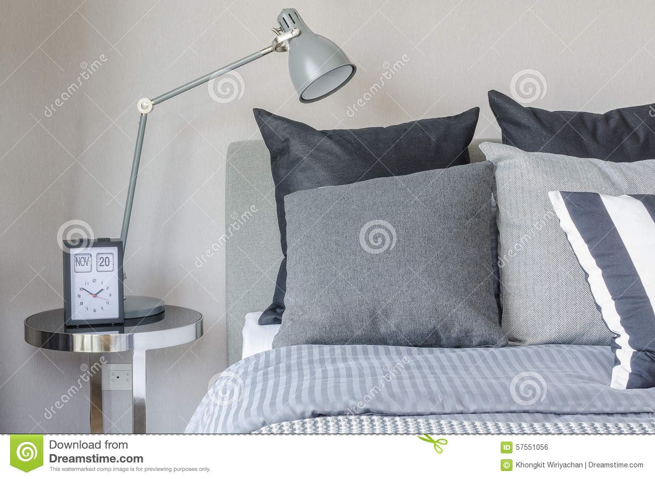 Modern Grey Lamp With Alarm Clock On Side Table In Bedroom