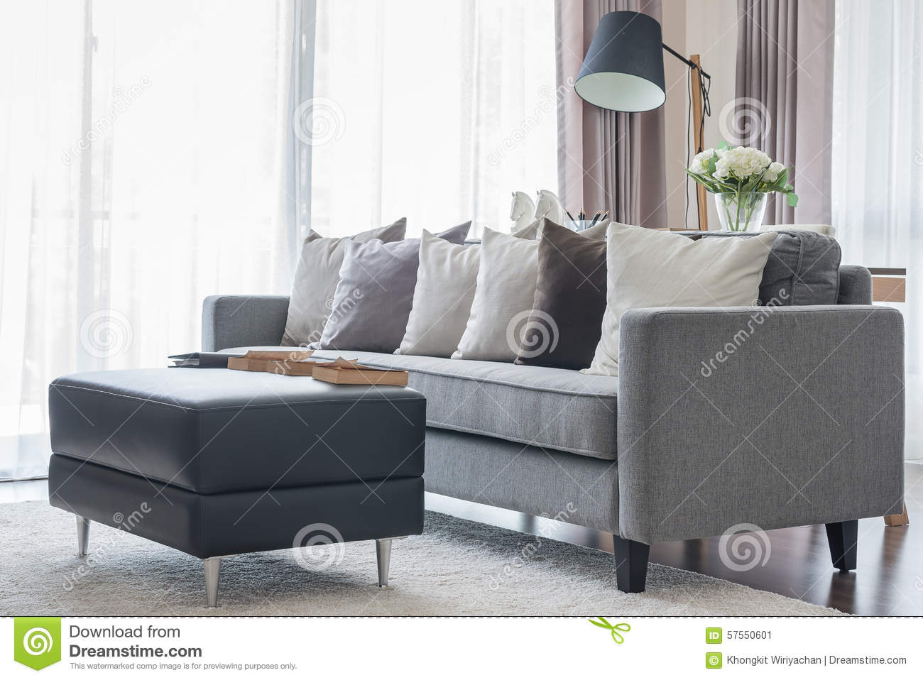 Contemporary modern living room with grey sofa royalty free stock image - Wandspiegel groay modern ...