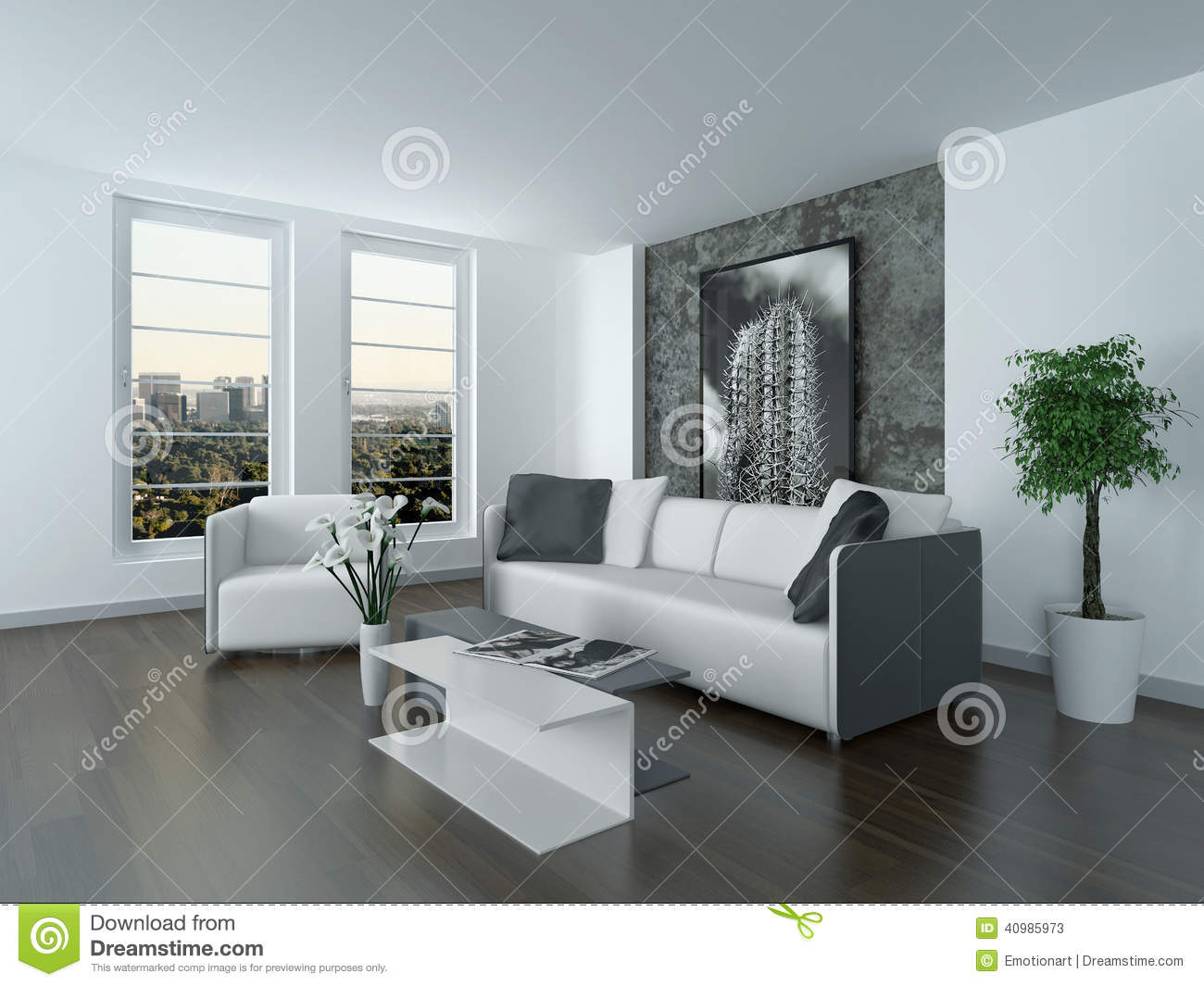 Salon blanc noir violet : Stock illustration modern grey white sitting room interior comfortable lounge suite art two large windows image