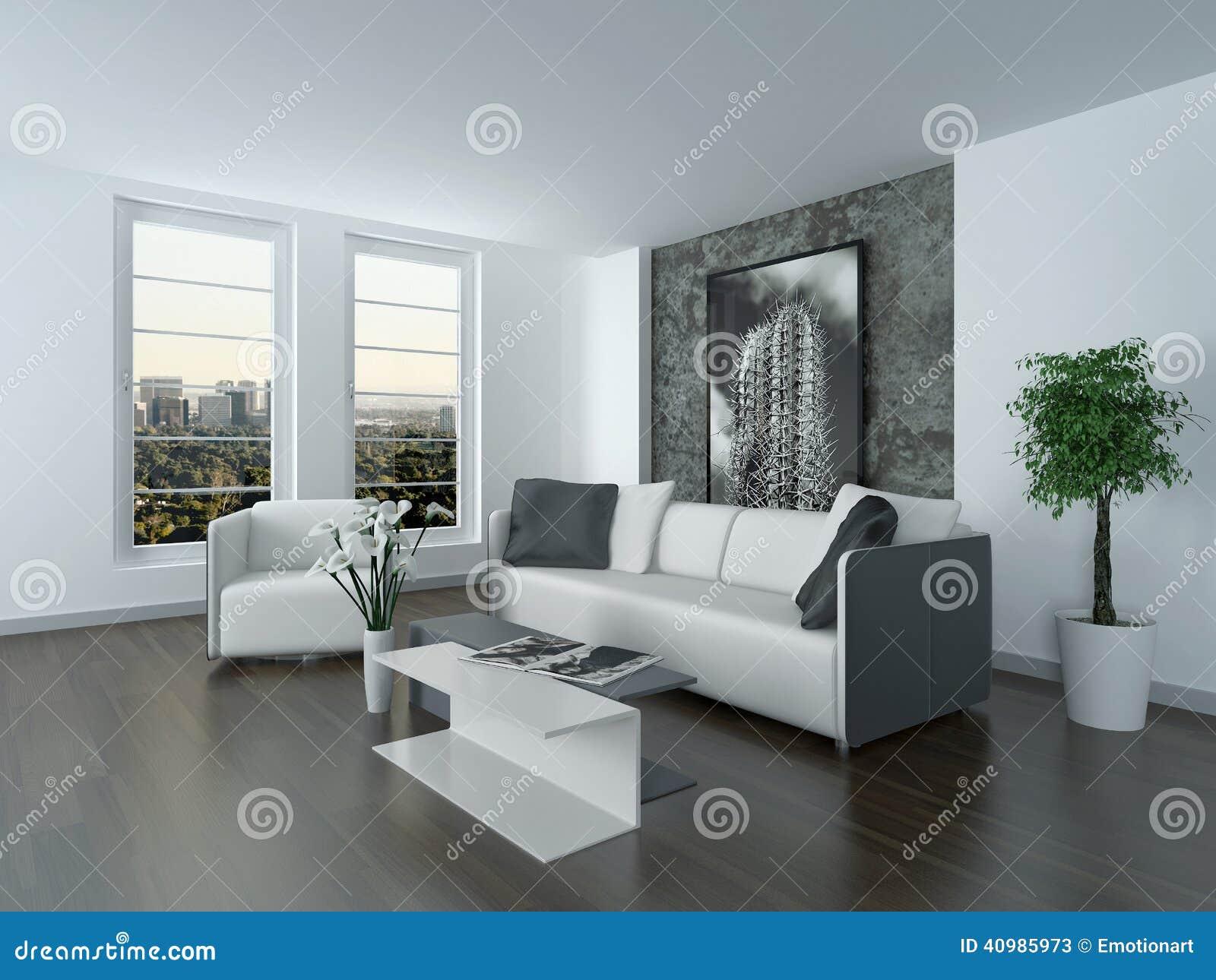 Binnenland van een moderne grijze en witte woonkamer stock ...