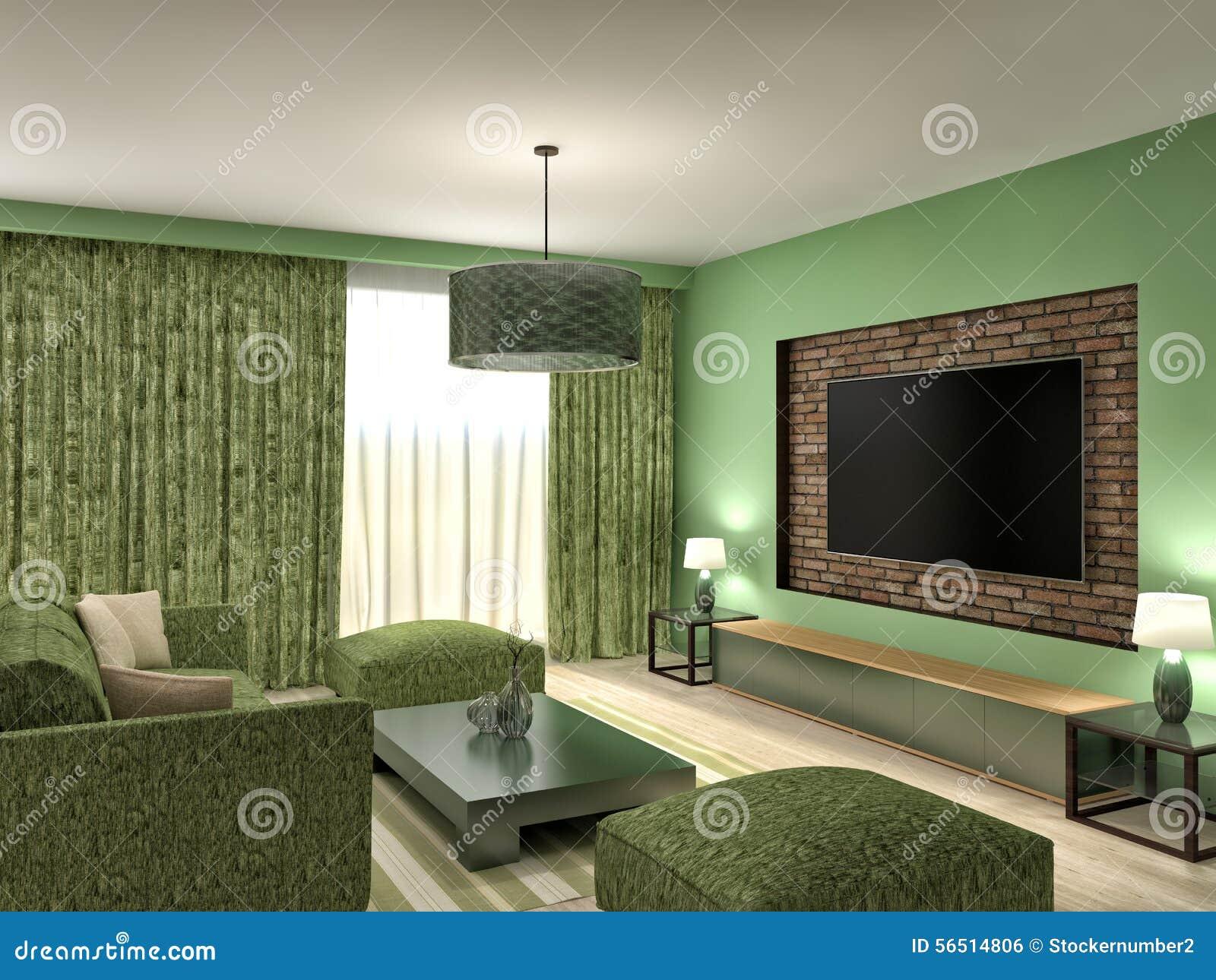 Modern groen woonkamer binnenlands ontwerp 3d illustratie stock ...