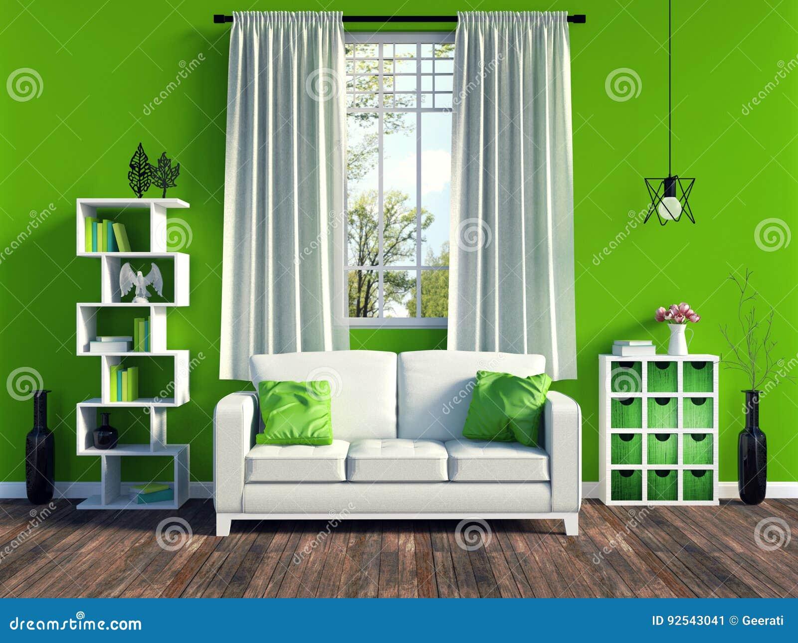 Modern groen woonkamerbinnenland met wit bank en meubilair en oude houten bevloering