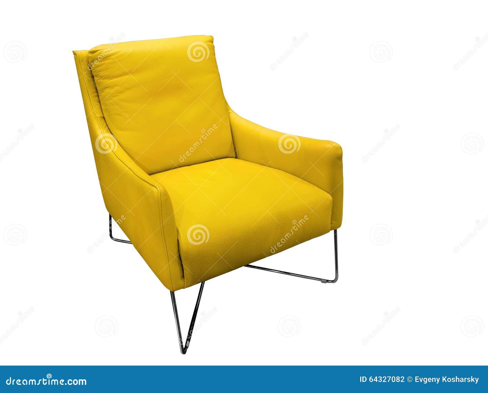 Läderfåtöljer : Modern gul läderfåtölj arkivfoto bild