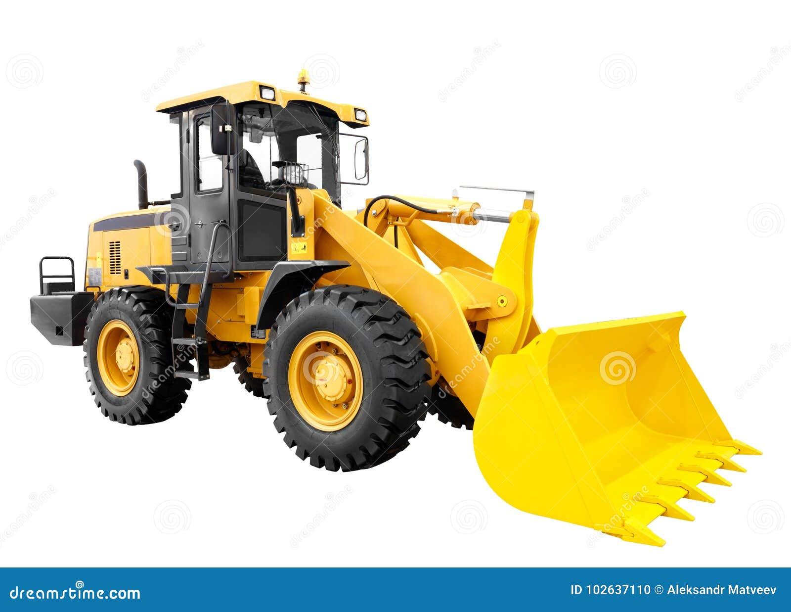 Modern gul utrustning för maskineri för konstruktion för laddarbulldozergrävskopa som isoleras på vit bakgrund