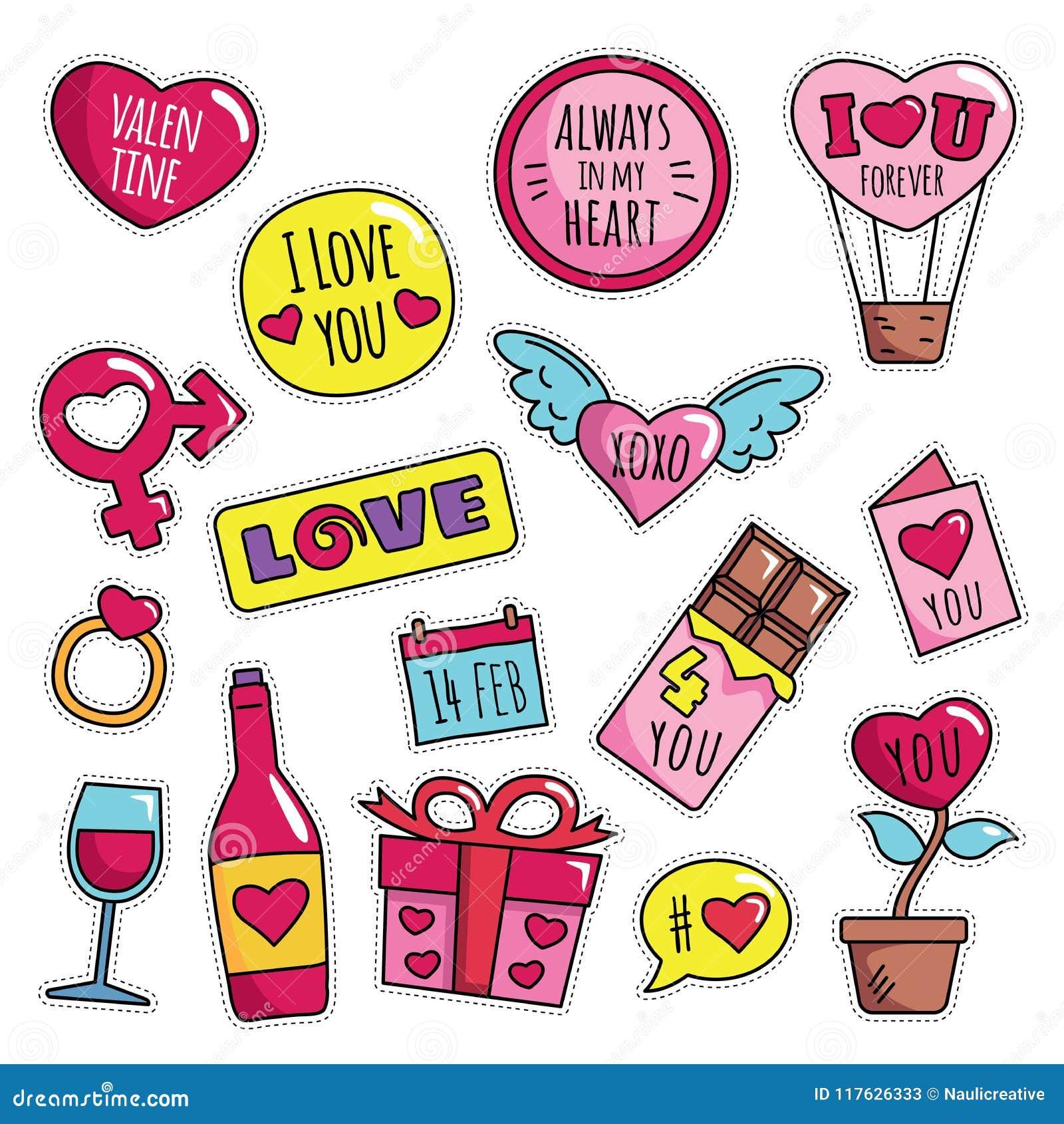 Modern gullig 80s-90s isolerade den Valentine Fashion Patch Cartoon Illustration uppsättningen