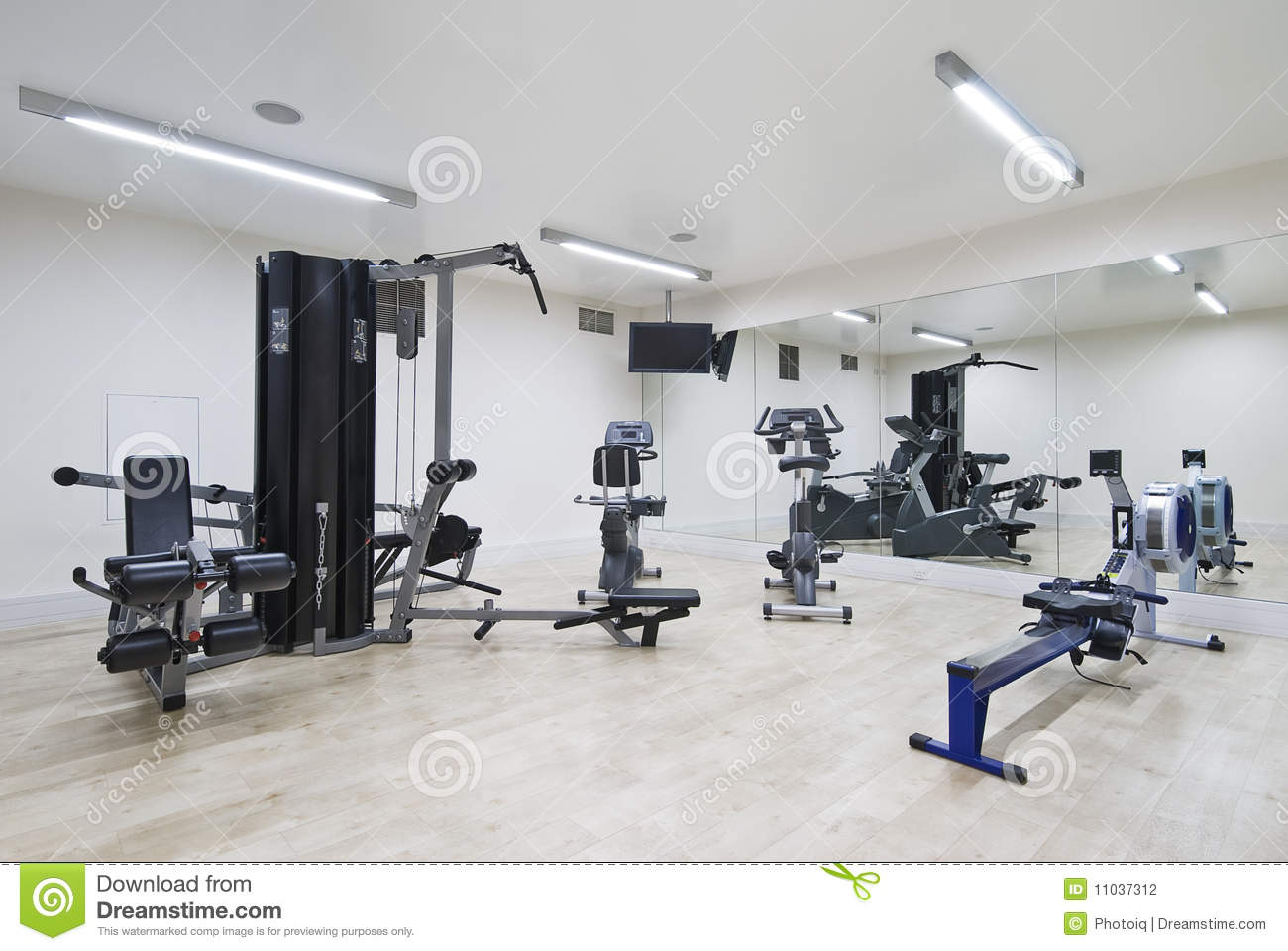Modern gym stock photo image of solid laminate room