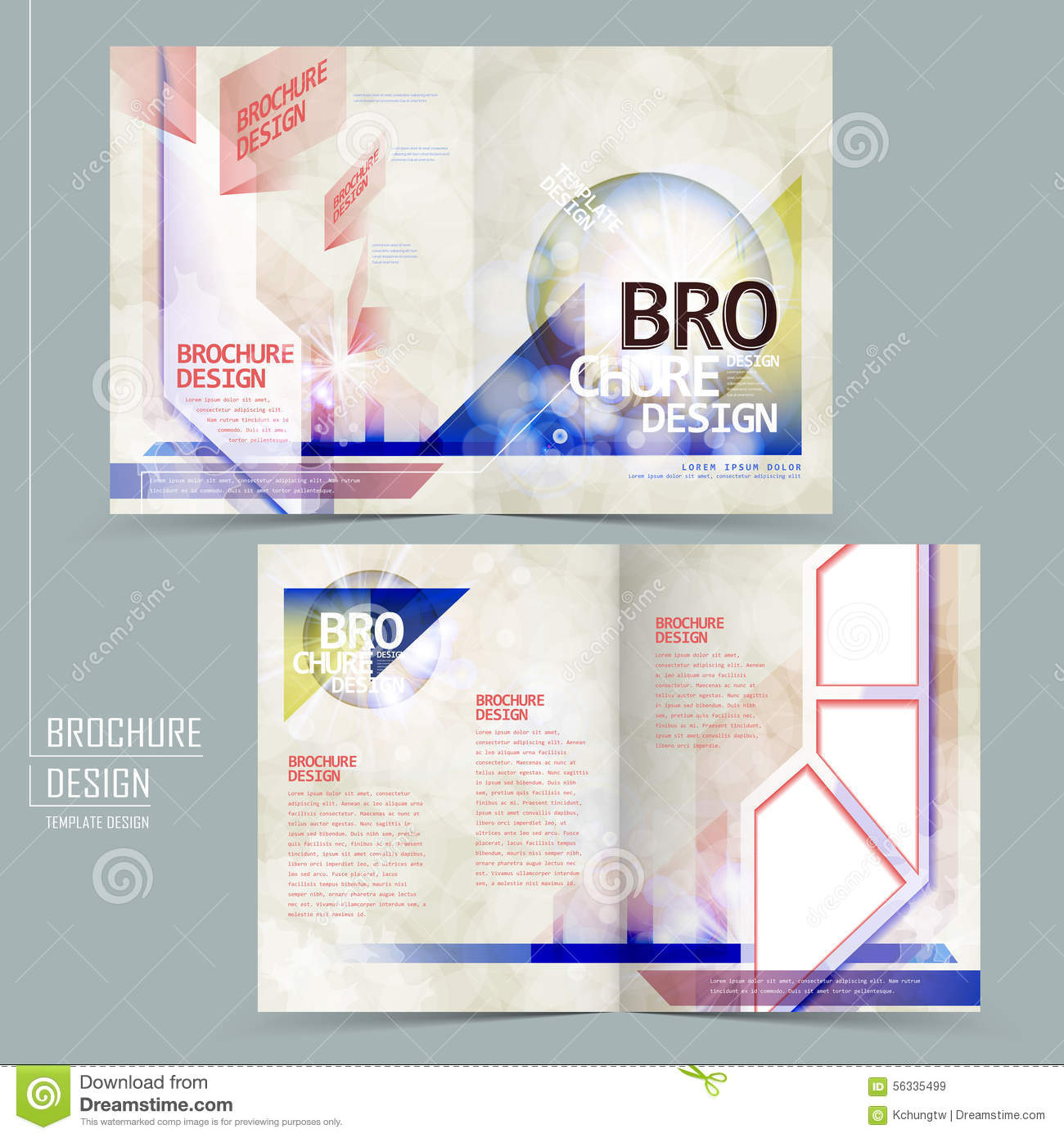 modern half fold brochure design stock vector illustration of