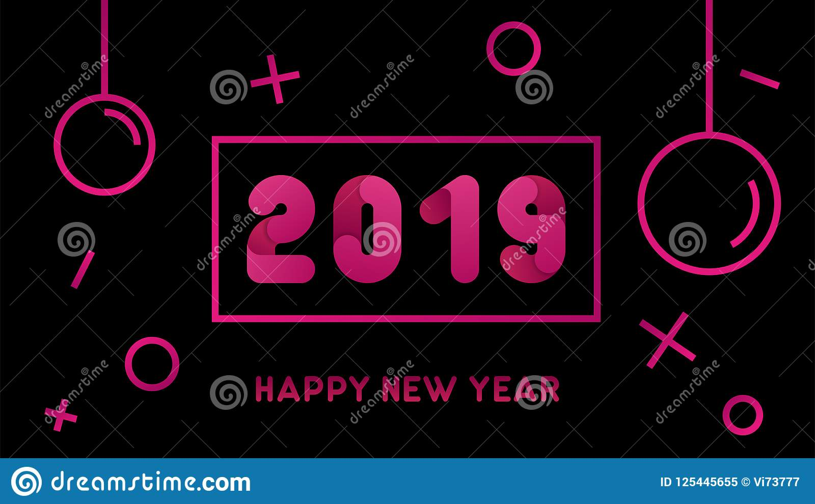 Christmas In Memphis 2019 Modern 2019 Happy New Year Background With Christmas Ball. Vector