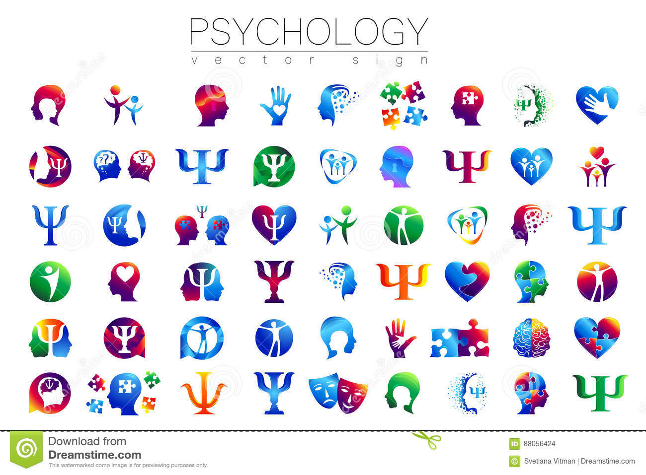 Modern Head Sign Set Of Psychology Profile Human Creative Style