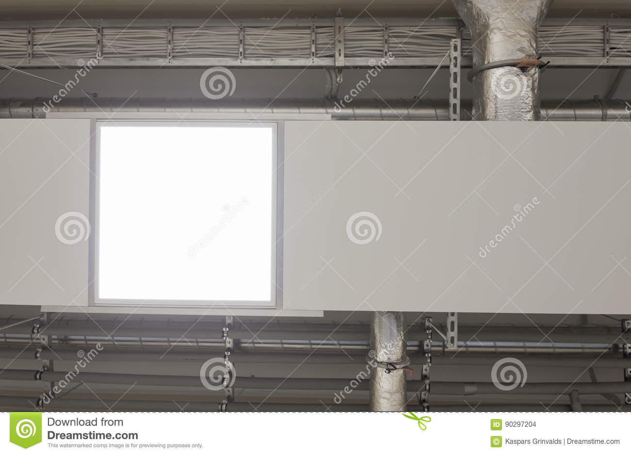 Modern heating pannels on ceiling