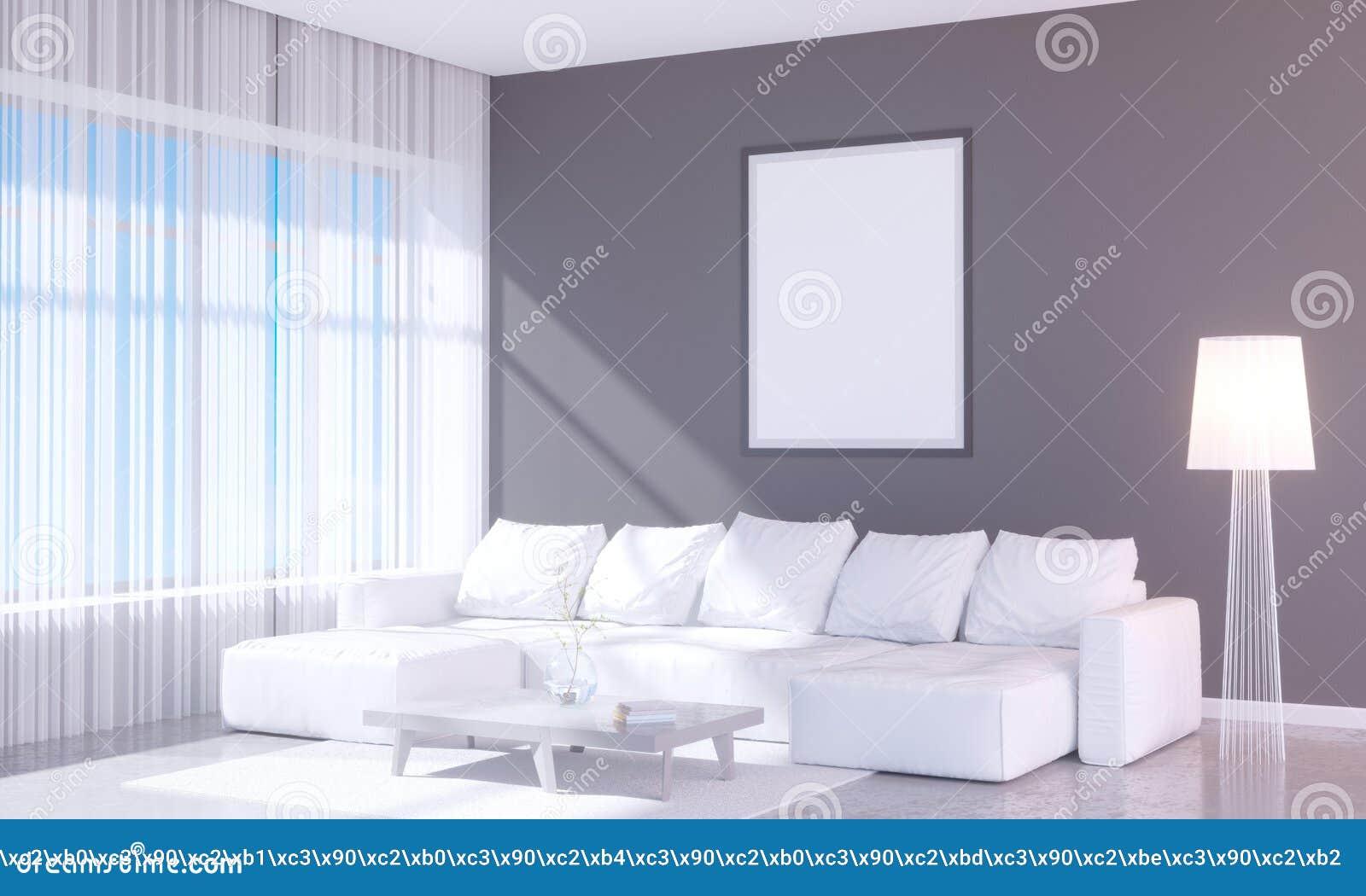 Modern helder binnenland met leeg kader 3D het teruggeven 3D illustratieruimte, Skandinaviër, bank, ruimte, omhoog, witte muur,