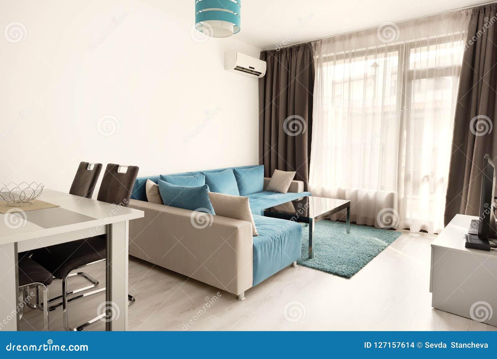 Modern helder en comfortabel woonkamer binnenlands ontwerp met bank, eettafel en keuken Grijze en turkooise blauwe zitslaapkamer