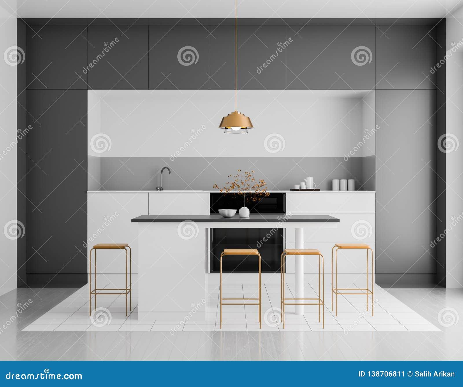 Modern helder keukenbinnenland Het ontwerp van de Minimalistickeuken met bar en krukken 3D Illustratie