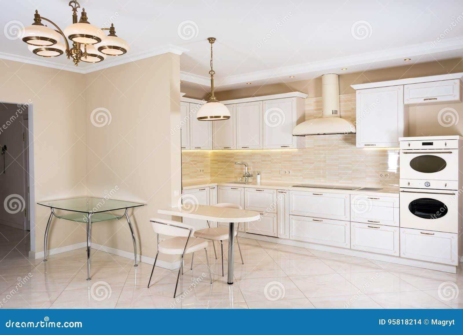 Modern, helder, schoon keukenbinnenland in een luxehuis Binnenlands ontwerp met klassieke of uitstekende elementen praktisch