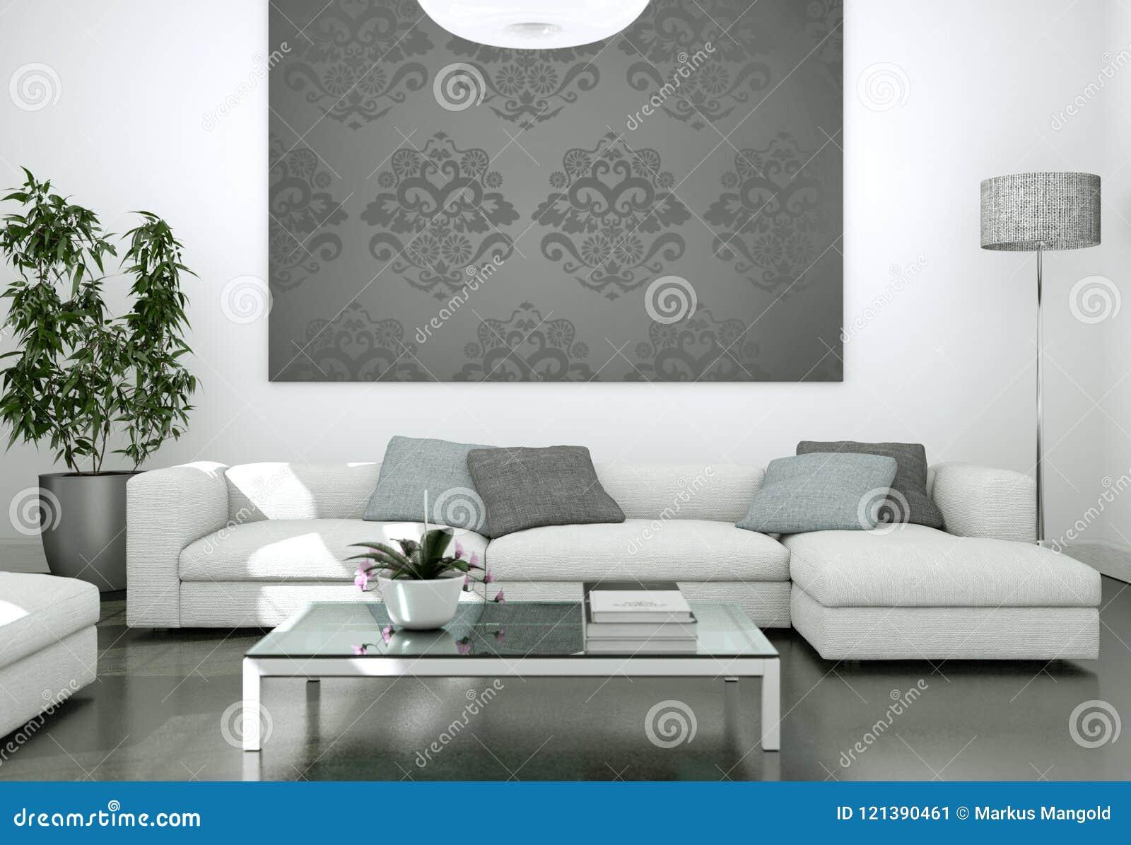 Grijze Muur Woonkamer : Modern helder woonkamer binnenlands ontwerp met banken en grijze