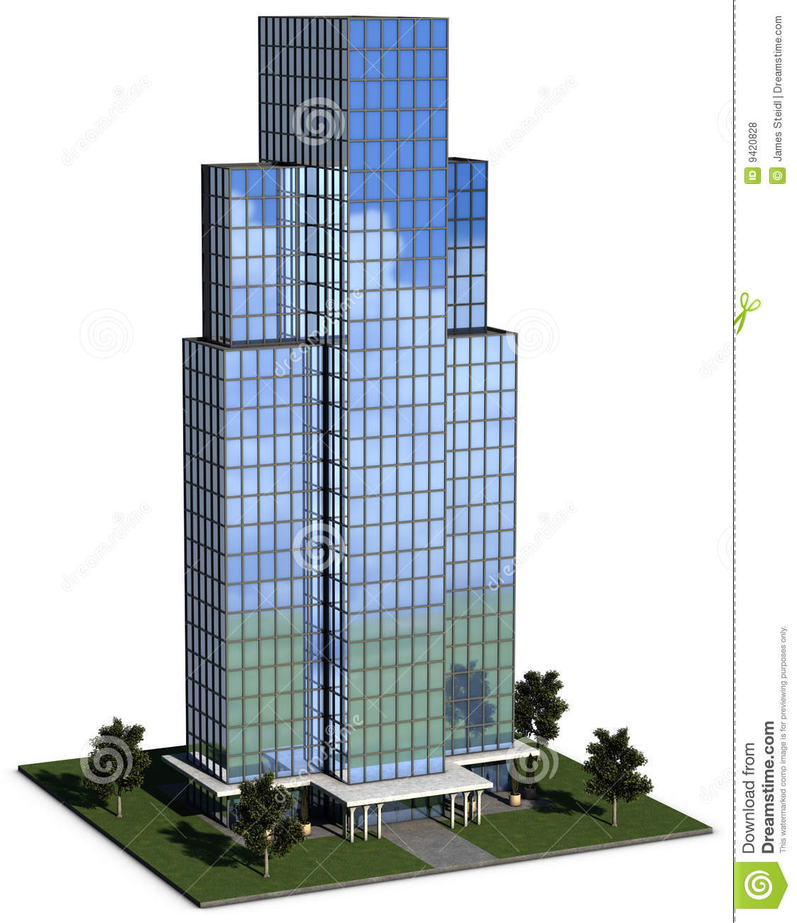 Modern Hi Rise Corporate Office Building Stock Illustration