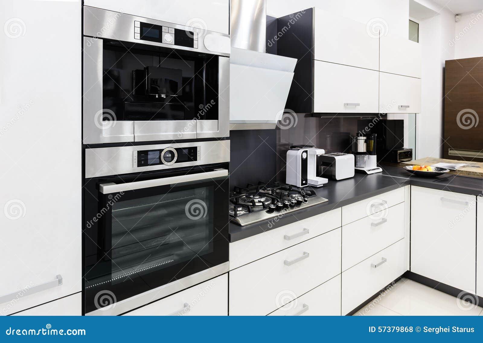 Modern Hi Tek Kitchen Clean Interior Design Royalty Free Stock Photos