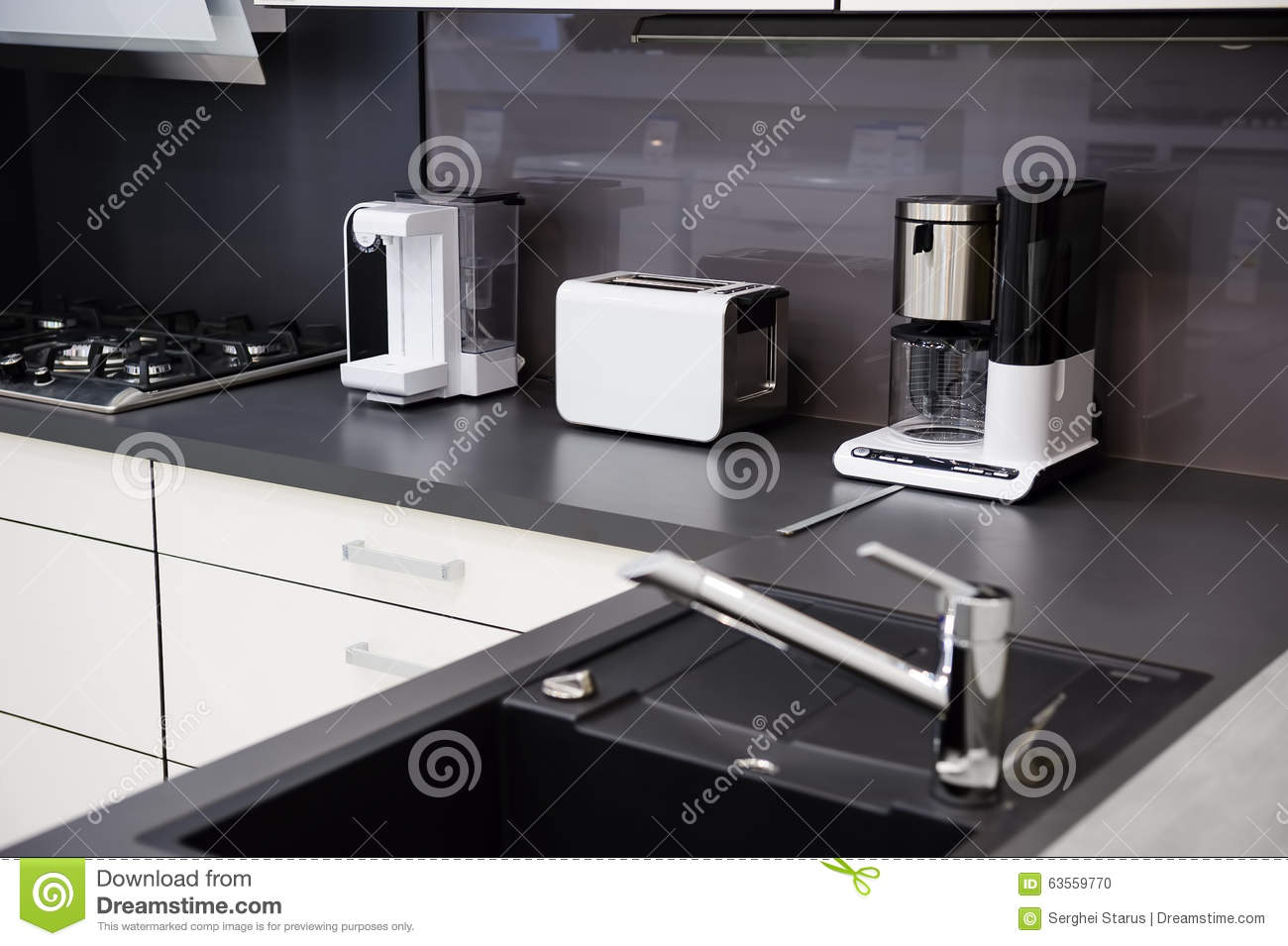 Modern hi tek kitchen clean interior design stock photo Clean modern interior design