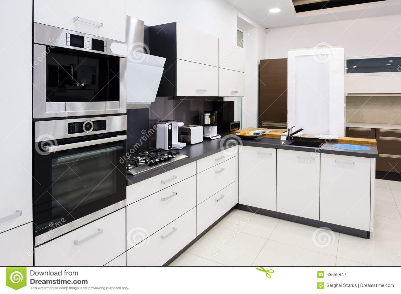 Modern hi tek kitchen clean interior design stock photo for Clean interior design