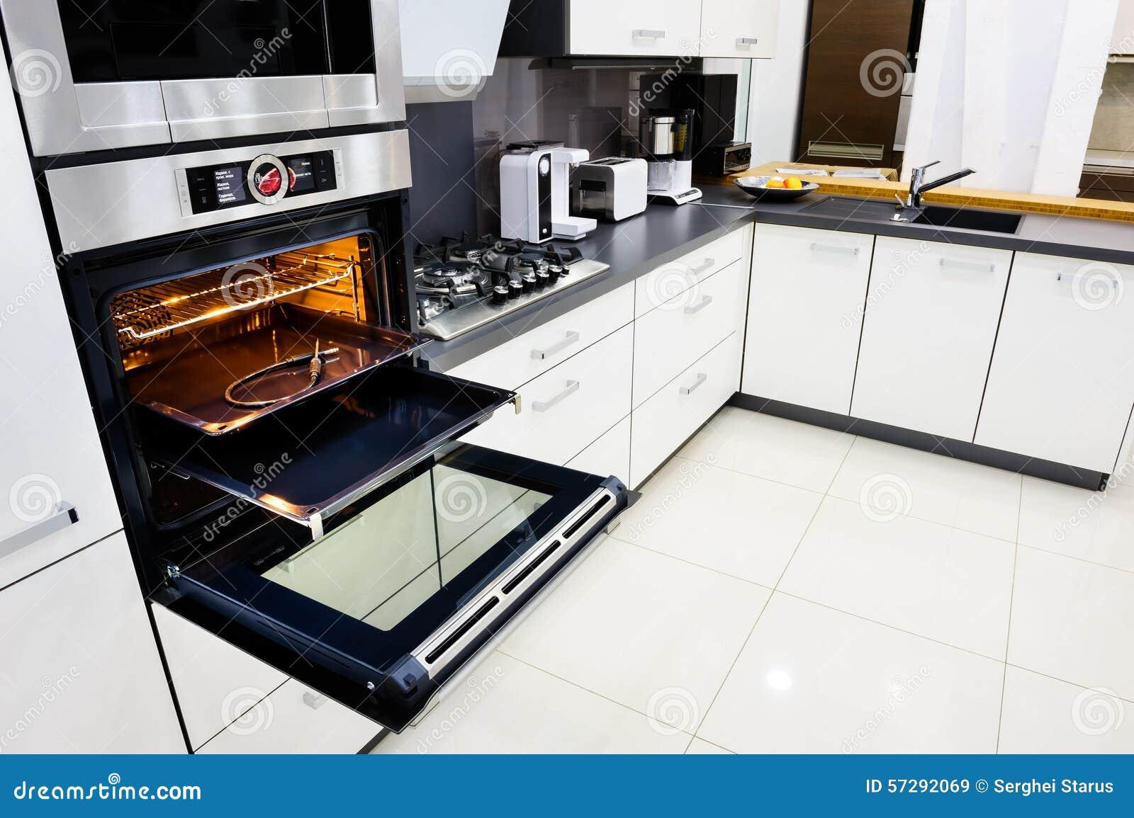 Open Kitchen Oven ~ Modern hi tek kitchen oven with open door stock image