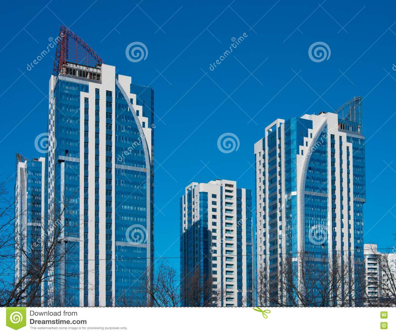 High Rise Apartments: Modern High-rise Apartment Building Royalty Free Stock