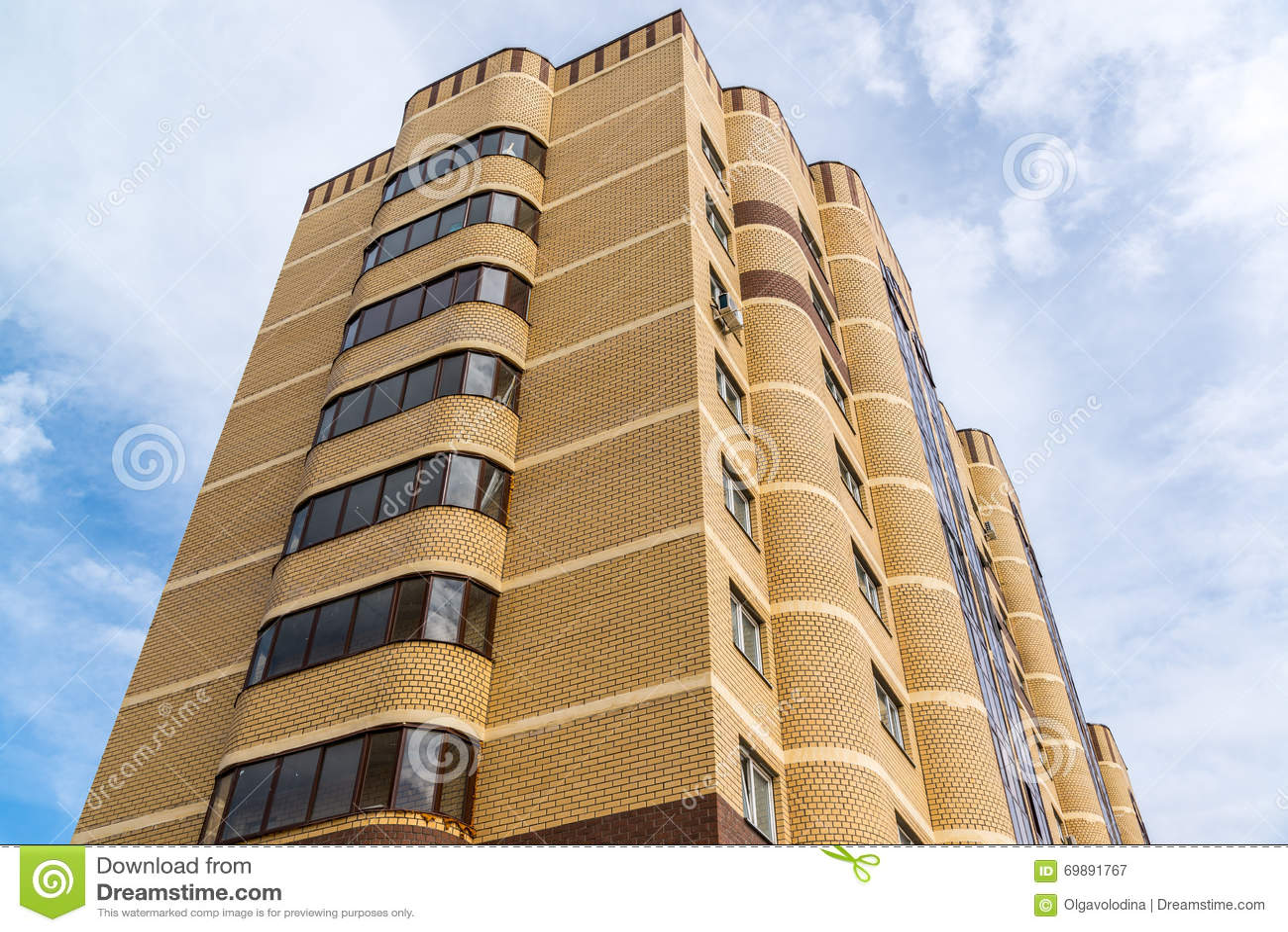 modern high rise apartment building made of brick stock image image 69891767. Black Bedroom Furniture Sets. Home Design Ideas