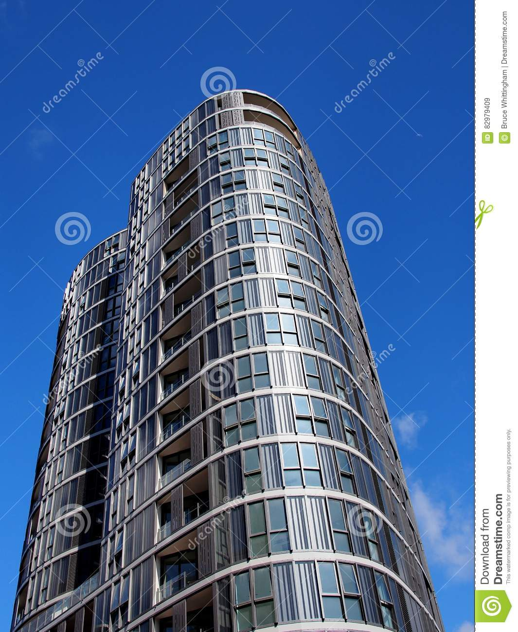 High Rise Apartments: Modern High Rise Apartment Building Stock Image