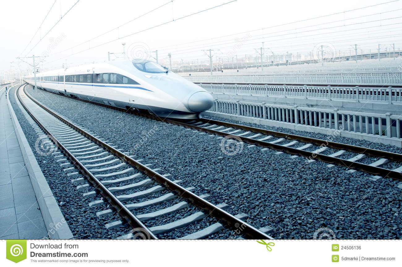 Modern High Speed Bullet Train On Track Stock Photo - Image
