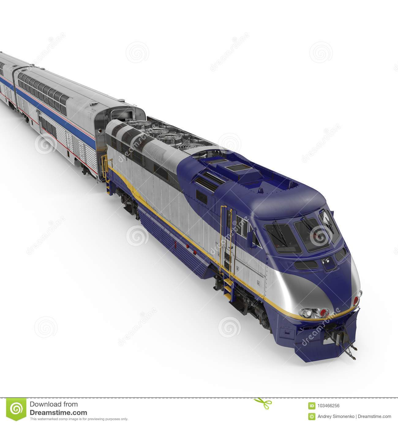 Modern High-speed Double Deck Train On White  3D