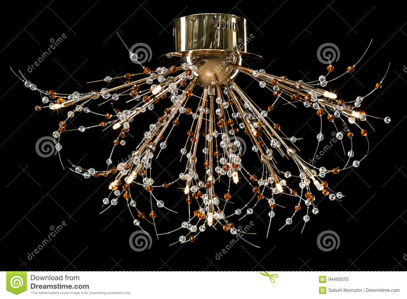 Modern high tech chandelier with crystals isolated on black stock download comp mozeypictures