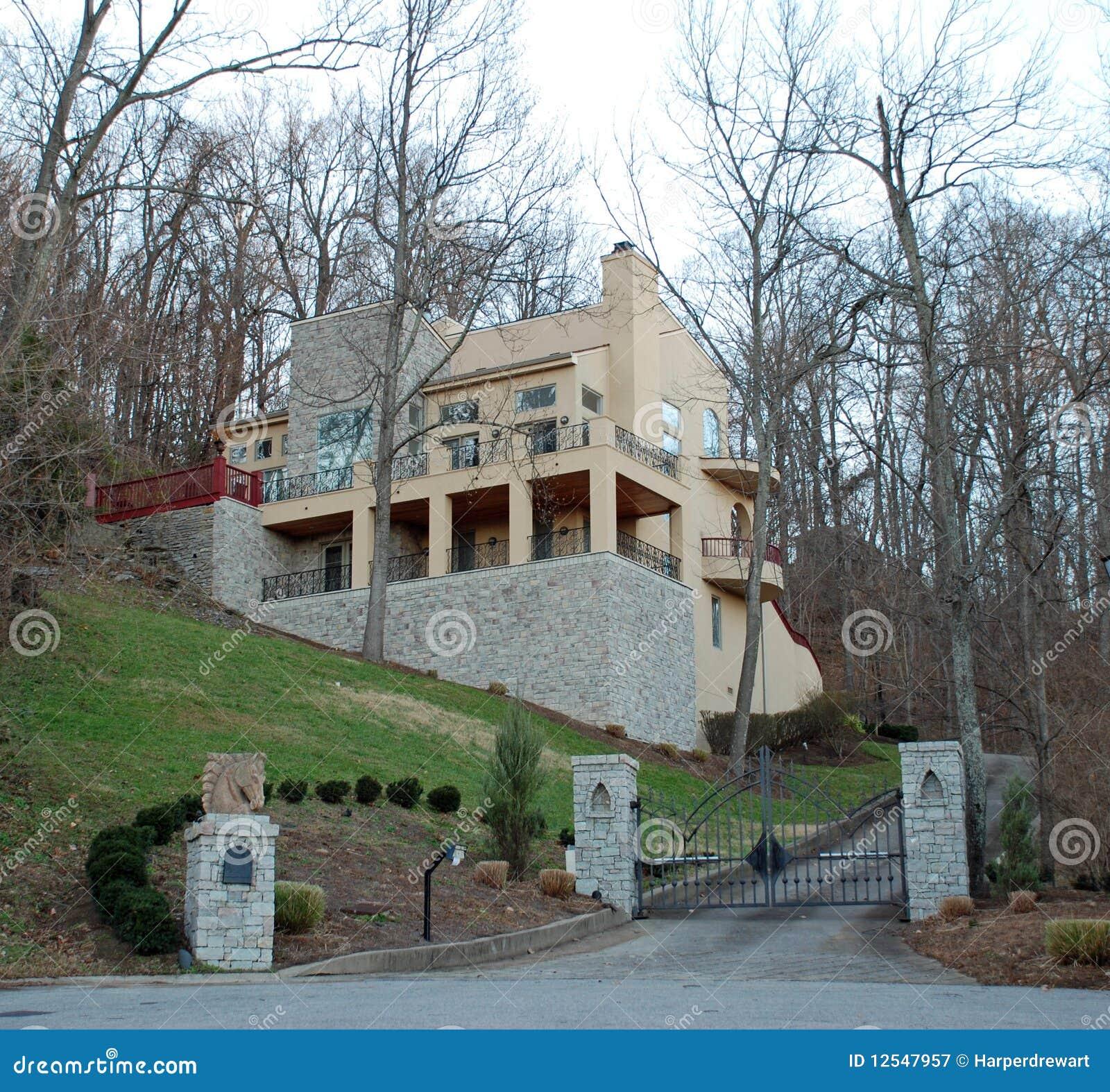 Stone Luxury Home Designs: Modern Hillside Stone Luxury Home 36 Stock Image