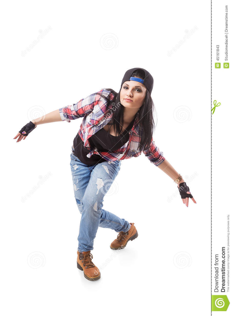 Modern Hip-hop Dance Girl Pose On Isolated Background ...