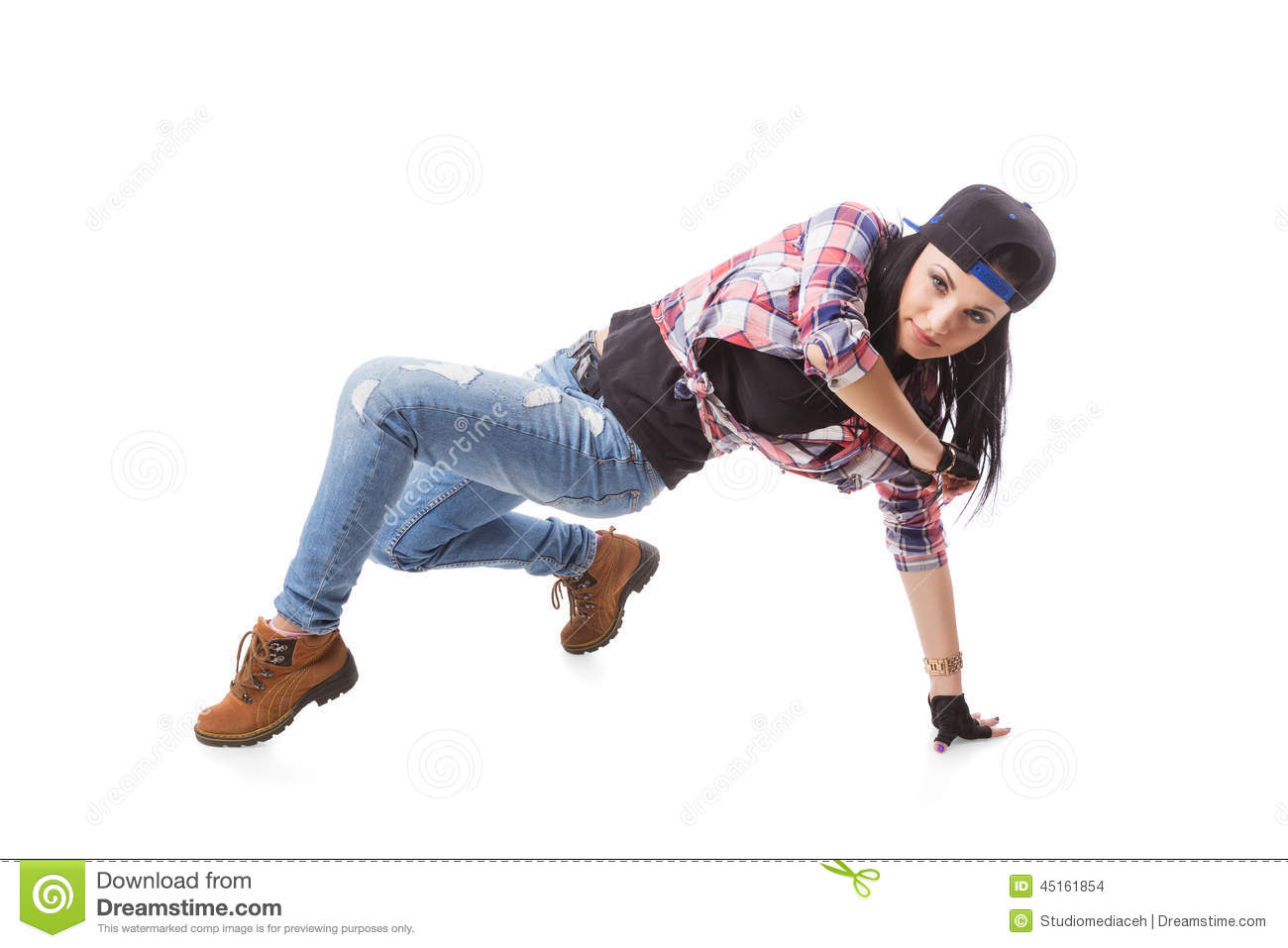 modern hiphop dance girl pose on isolated background
