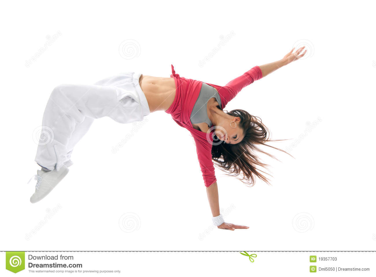 Modern Hip-hop Style Woman Dancer Break Dancing Stock Photos - Image ...