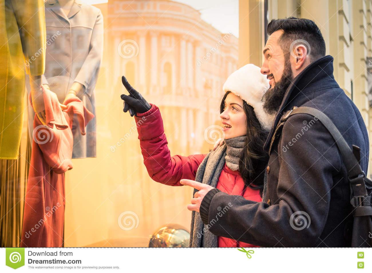 Modern Hipster Couple Shopping On Winter Cloth Pointing ...