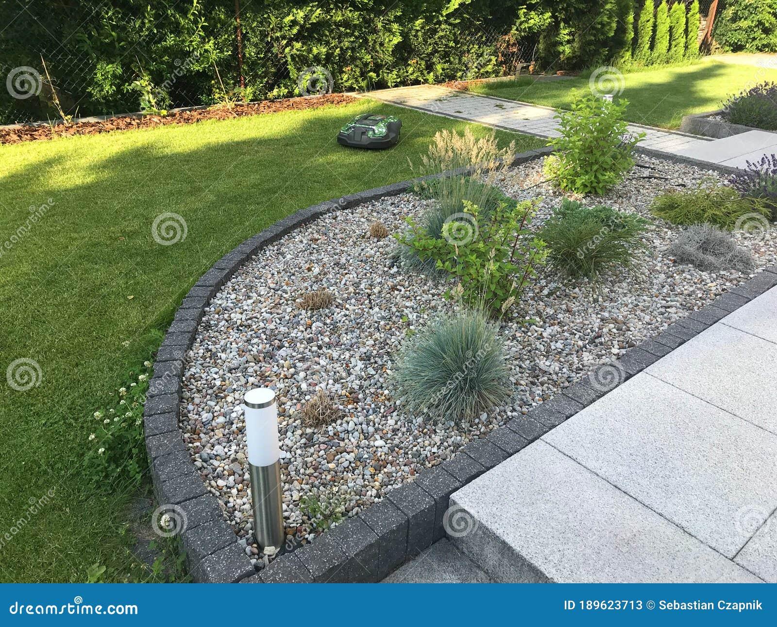 Modern House Garden Design Detail Stock Image Image Of Mower Home 189623713