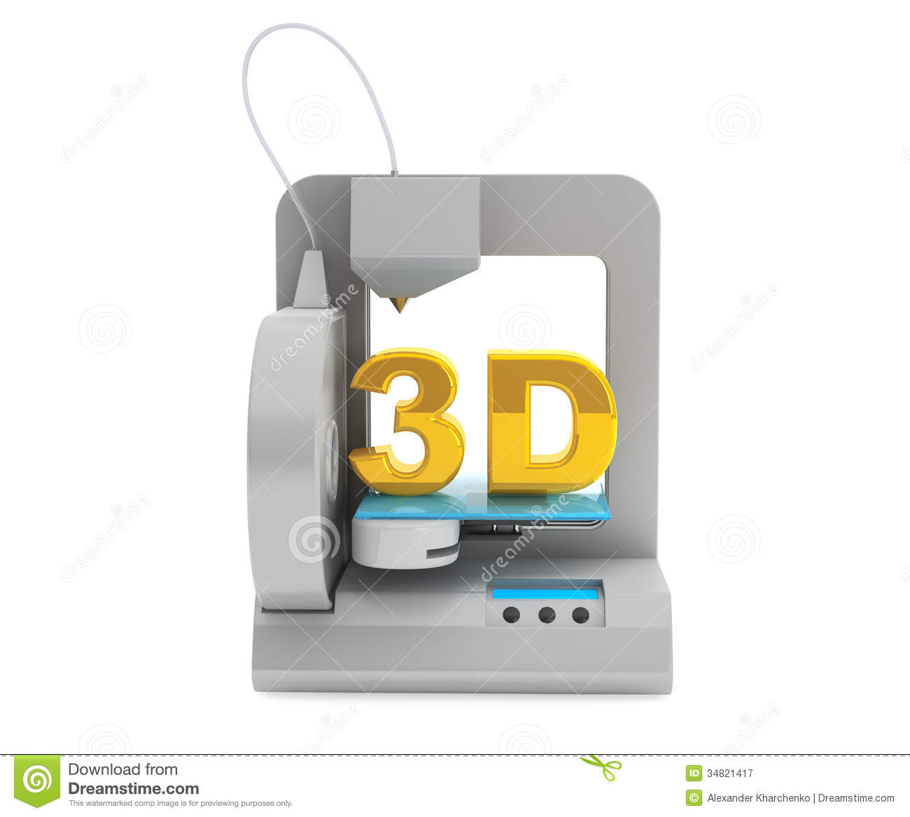 Modern Home 3d Printer Make Object Stock Illustration