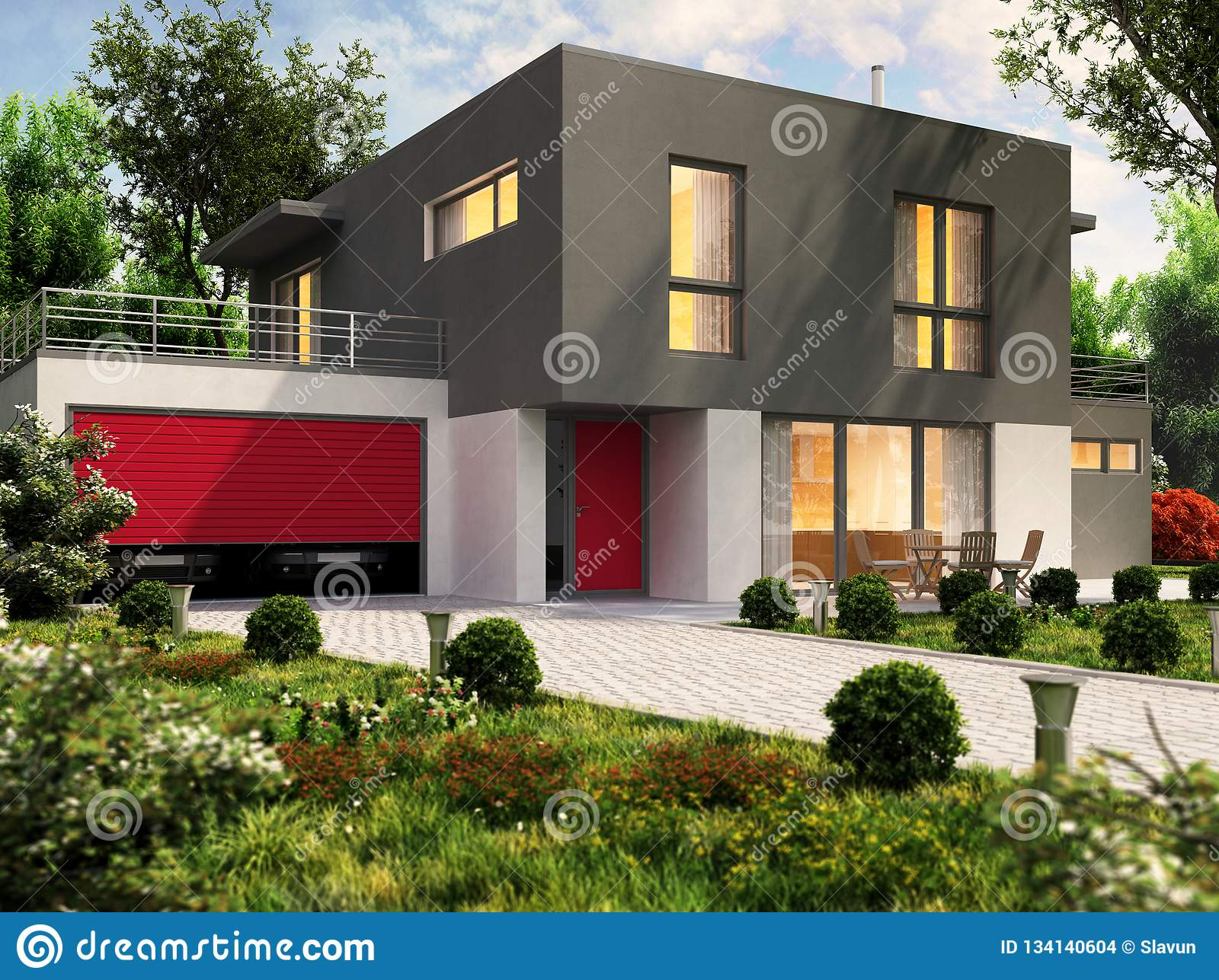 Modern House Design And Large Garage For A Cars Stock Photo Image Of Building Modern 134140604