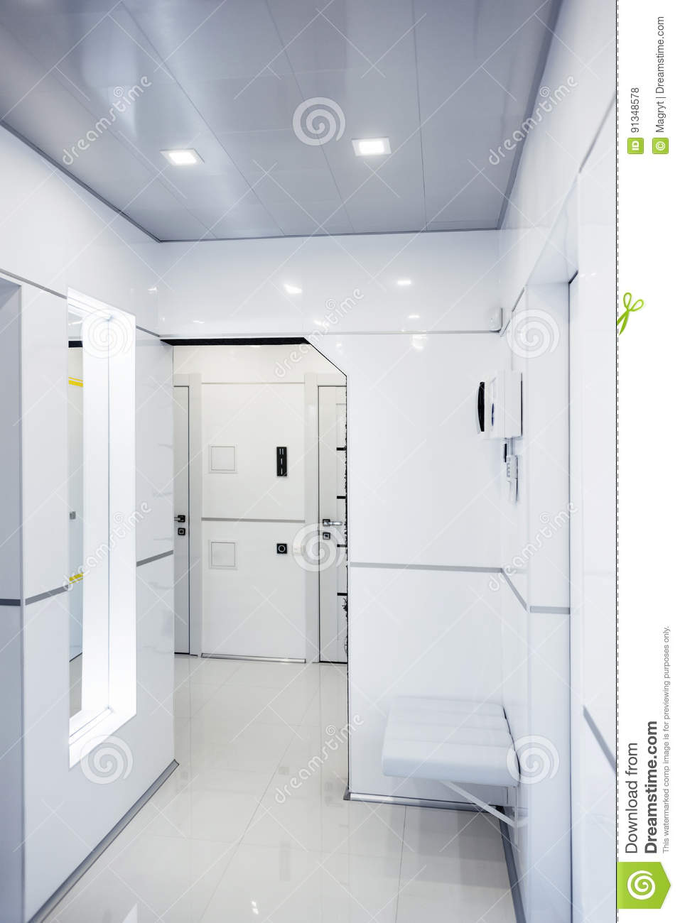 Modern Home Hallway Interior. White Plactic Panels And Tiles ...