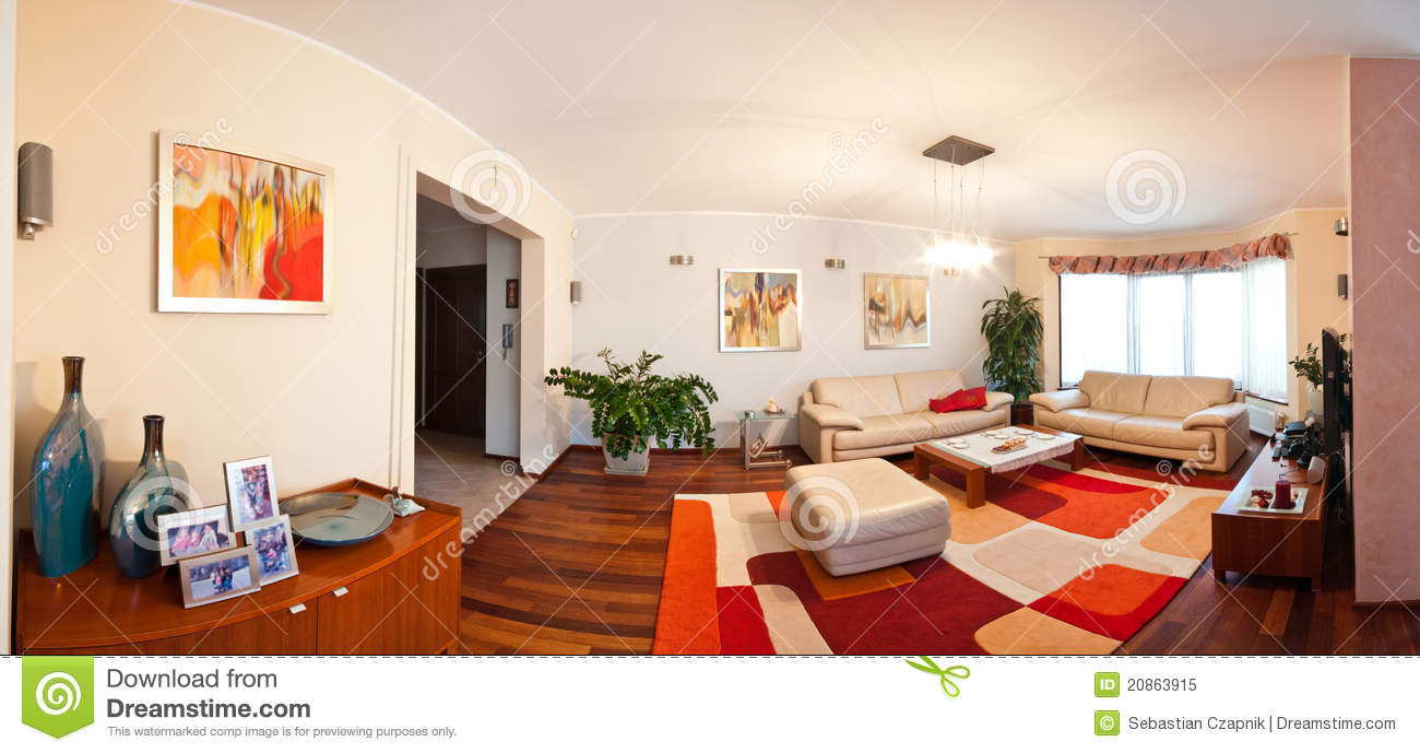 Interior Of Modern House Panoramic View Living Room And Dining Room