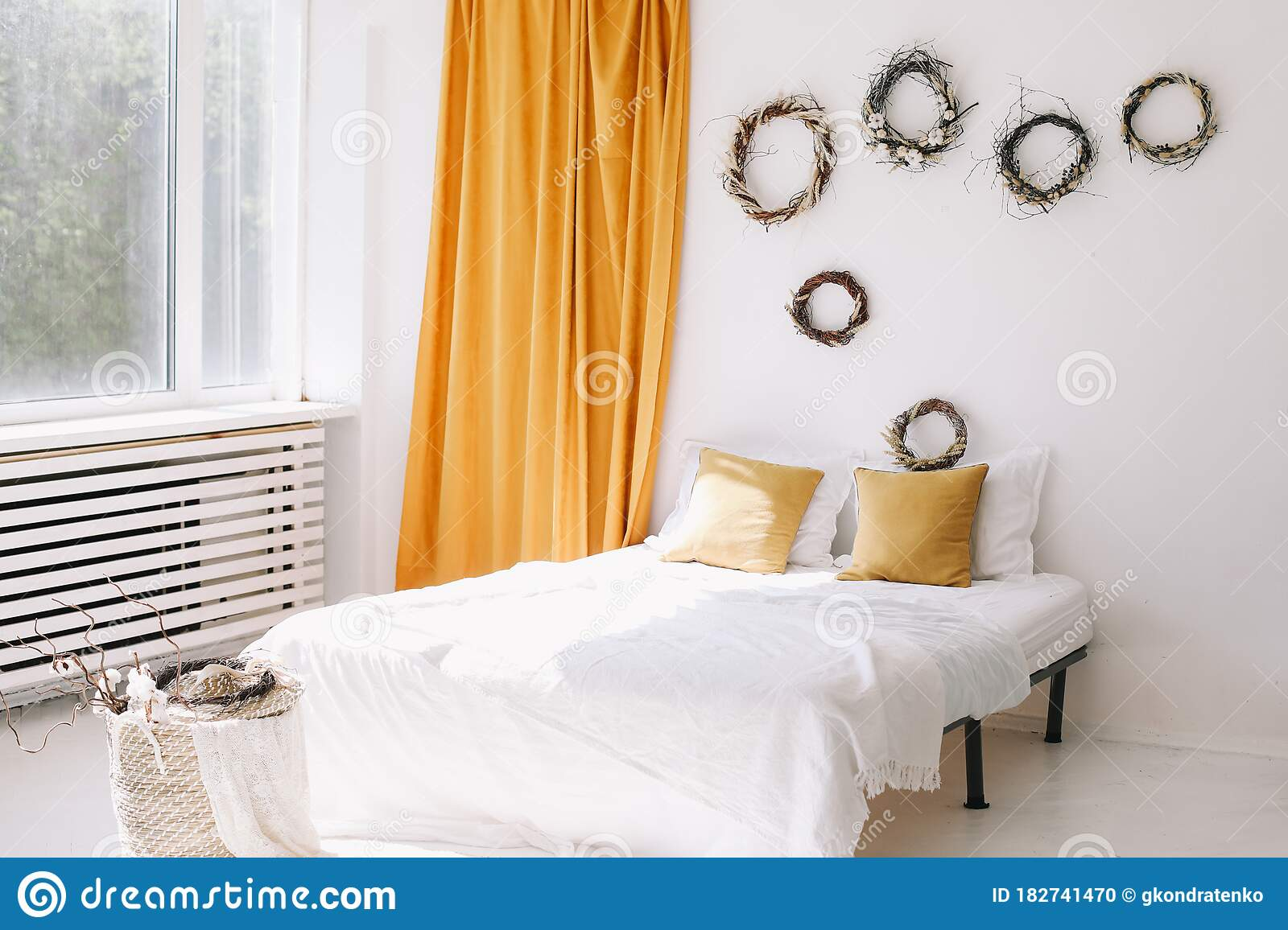 Modern Home Interior Design Cozy Bedroom With Wide Bed Pillows Curtains And Decorations Bedroom Interior Home Interior Decor Stock Photo Image Of Bedroom Elegant 182741470