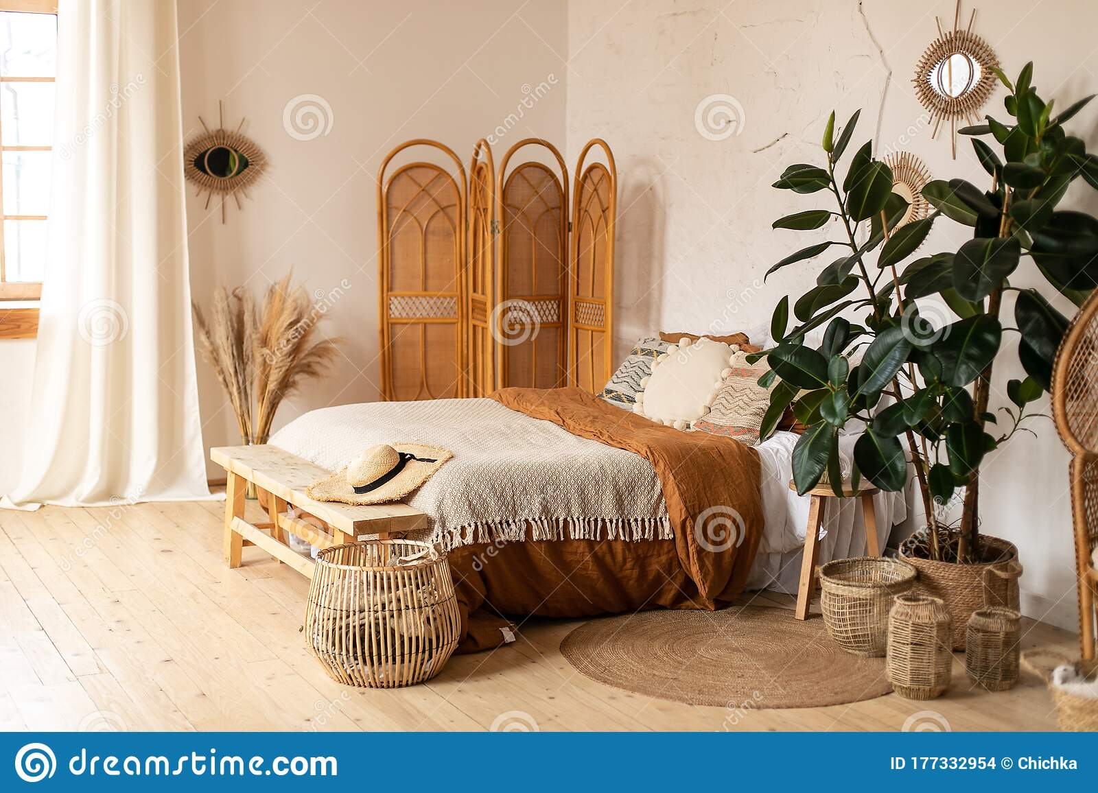 Modern Home Interior Design White And Beige Blankets On Comfortable Bed In Boho Bedroom Interior Textured Walls Wooden Floor Stock Photo Image Of Background Interior 177332954