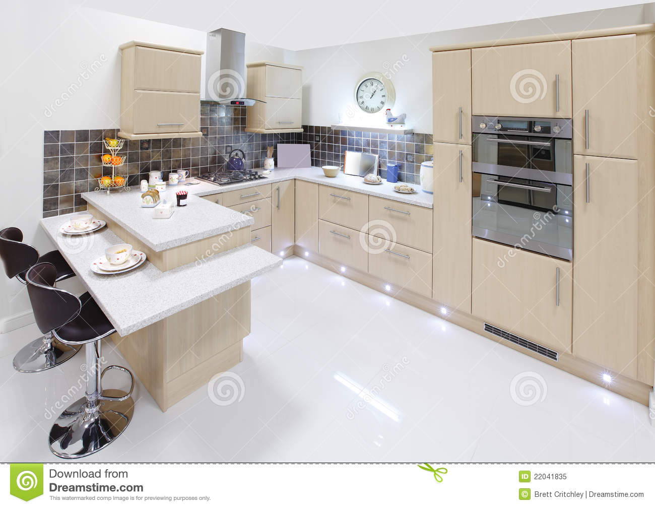 Modern home interior kitchen royalty free stock photo for Modern kitchen interior