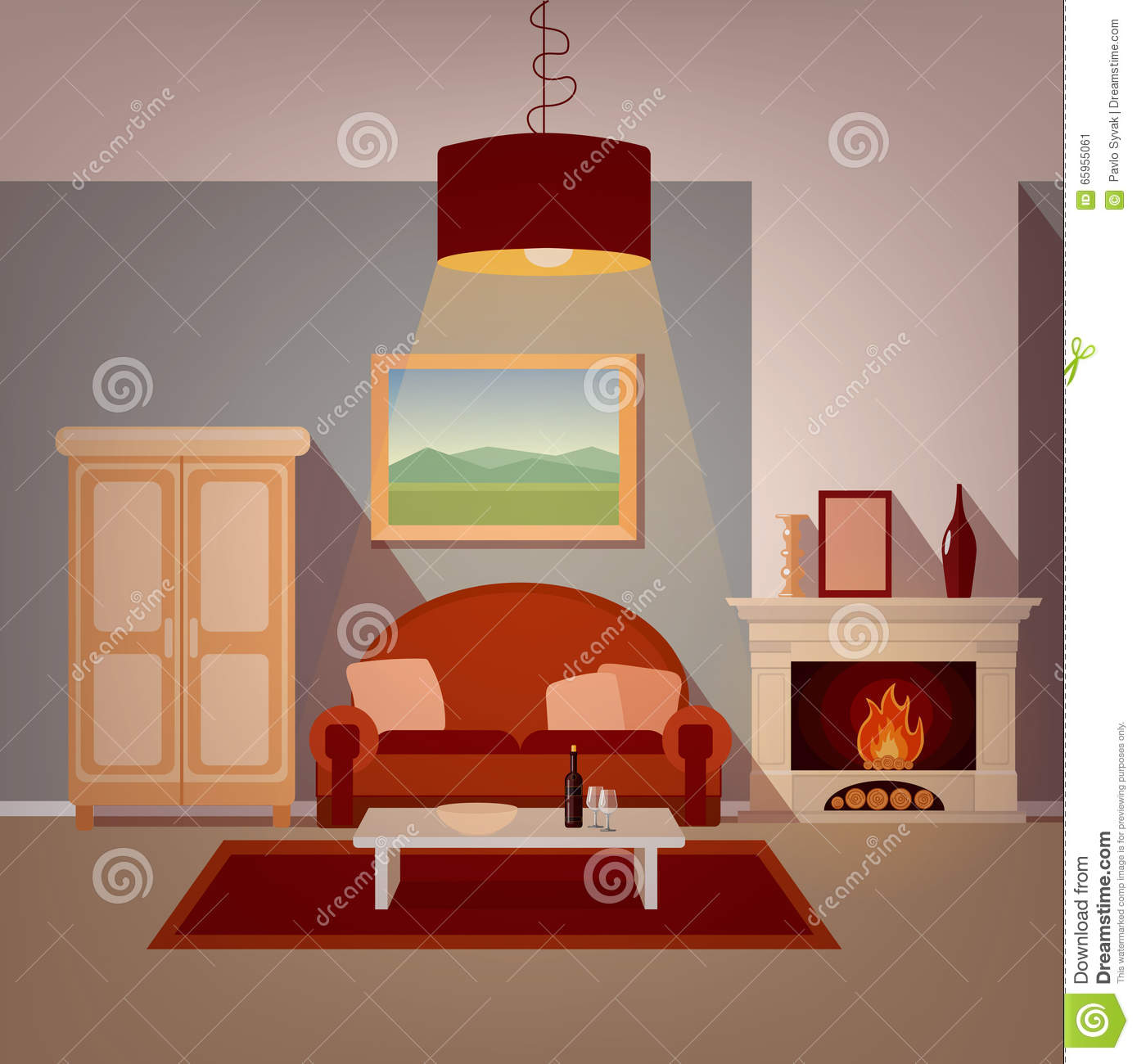 Modern Home Interior Of Living Room With Fireplace Stock