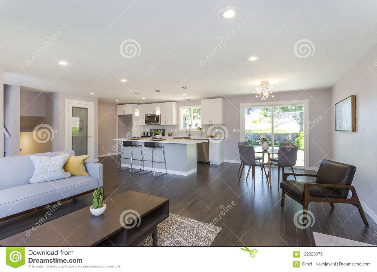 Modern Home Interior With Open Floor Plan. Stock Photo ...