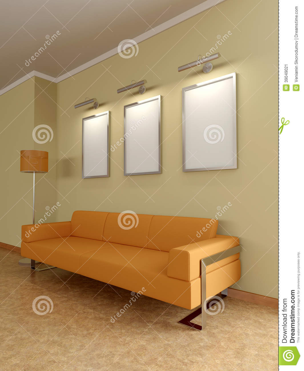 Modern home interior with sofa paintings 3d stock - Peinture maison interieur photo ...